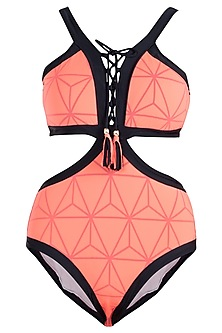 Neon orange triangular lace up monokini swimsuit
