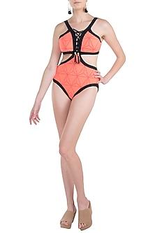 Neon orange triangular lace up monokini swimsuit by KAI Resortwear