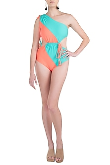 Mint color blocked one shoulder swimsuit by KAI Resortwear