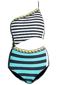 Mint striped classic one shoulder swimsuit