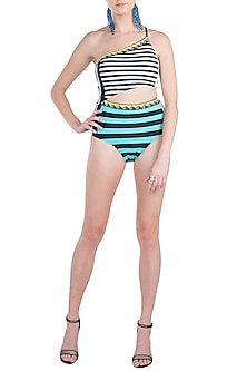 Mint striped classic one shoulder swimsuit by KAI Resortwear