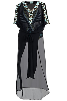 Black embellished long kaftan coverup by KAI Resortwear