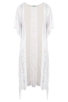 White lace and fringe cover up
