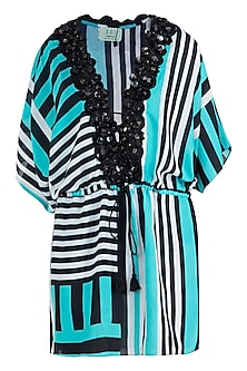 Mint stripes plunge embellished kimono cover up