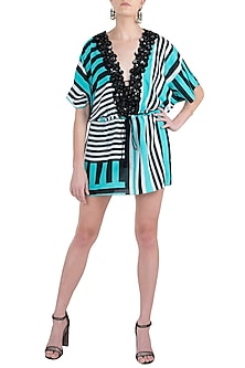 Mint stripes plunge embellished kimono cover up by KAI Resortwear