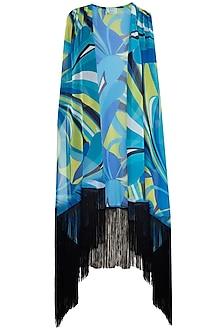 Blue luna fringe cape cover up by KAI Resortwear