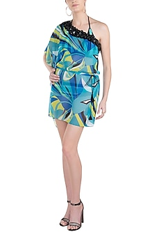 Blue luna one shoulder embellished kaftan cover up by KAI Resortwear
