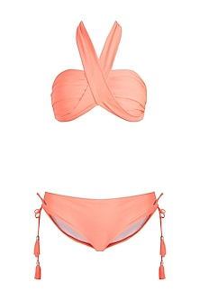 Neon orange multiway bandeau halter bikini set