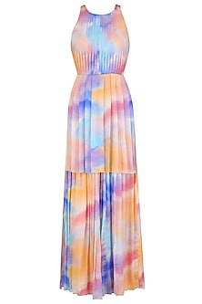 Nude Pink, Purple, Blue and Peach Top and Skirt Set