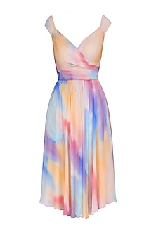 Nude Pink, Blue and Peach Off Shoulder Flared Dress