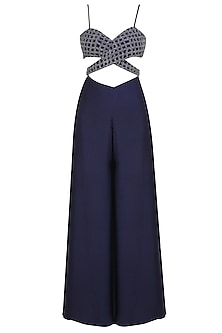 Navy Blue Sequins and Beads Embroidered Jumpsuit