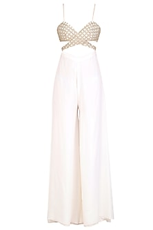 Off White Sequins and Beads Embroidered Jumpsuit