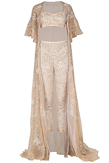 Nude Embroidered Bustier, Cigarette Pants and Cape Set