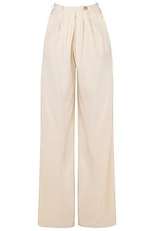 White Pleated Wide Leg Pants