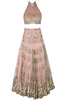 Poudre Pink Floral Embroidered Lehenga Set