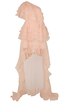Baby Pink Asymmetrical Ruffled Dress