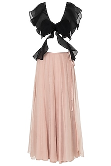 Black Ruffled Tube Top with Nude Midi Skirt
