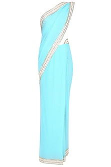 Light Blue Shimmer Saree With Sleeveless Sequinned Blouse