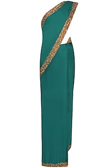 Bottle Green Nakshi Embroidered Saree With Antique Gold Blouse
