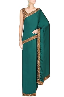 Bottle Green Nakshi Embroidered Saree With Antique Gold Blouse by Sakshi Gupta