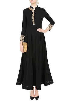 Black Dabka and Nakshi Embroidered Anarkali Set by Sakshi Gupta