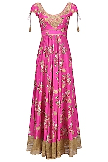 Pink Floral Embroidered Anarkali Kurta Set