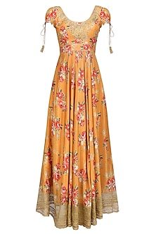Orange Floral Embroidered Anarkali Kurta Set