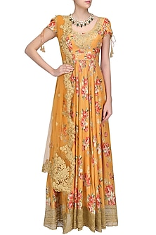 Orange Floral Embroidered Anarkali Kurta Set by Seema Khan