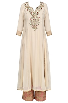 Beige Floral Embroidered Kalidaar Kurta Set with Pink Dupatta