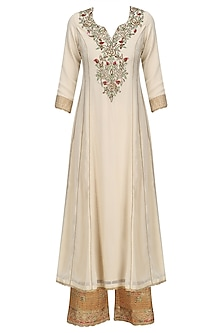 Beige Floral Embroidered Kalidaar Kurta Set with Orange Dupatta