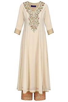 Beige Floral Embroidered Kalidaar Kurta Set with Red Dupatta