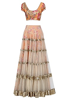 Beige Lehenga Skirt and Orange Floral Embroidered Blouse Set