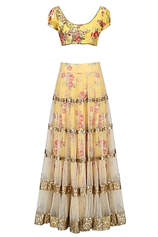 Beige Lehenga Skirt and Yellow Floral Embroidered Blouse Set