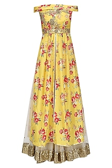 Yellow Floral Embroidered Off Shoulder Kurta and Skirt Set