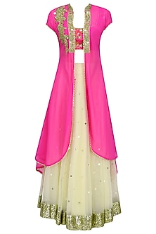 Beige Lehenga Skirt with Pink Floral Printed Blouse and Jacket
