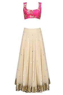 Beige Lehenga Skirt and Pink Floral Work Blouse Set