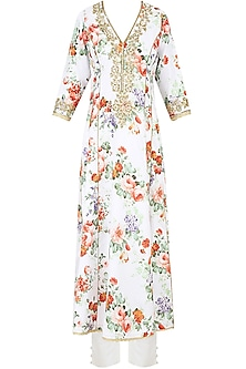 White Floral Printed Kurta Set With Straight Pants