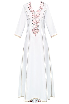 White Rosette Embroidered Kalidaar Kurta Set With Floral Printed Straight Pants