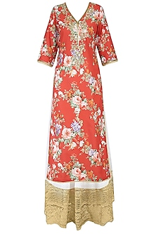 Rust Color Floral Printed Straight Kurta Set With Sharara Pants