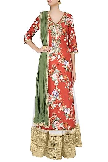 Rust Color Floral Printed Straight Kurta Set With Sharara Pants by Seema Khan