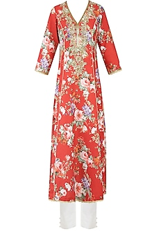 Rust Color Floral Printed Kalidaar Kurta Set With Straight Pants