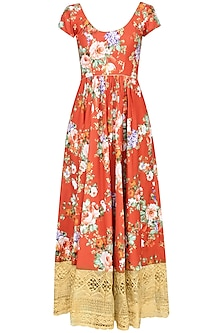 Rust Color Floral Printed Anarkali Set