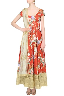 Rust Color Floral Printed Anarkali Set by Seema Khan