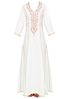 White Floral Embroidered Kalidaar Kurta Set With Straight Pants