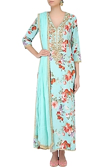 Blue Floral Printed Anarkali Set With Straight Pants by Seema Khan