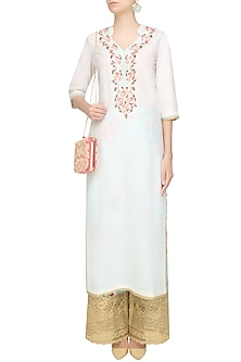 White Floral Embroidered Straight Kurta With Blue Floral Broad Pants by Seema Khan