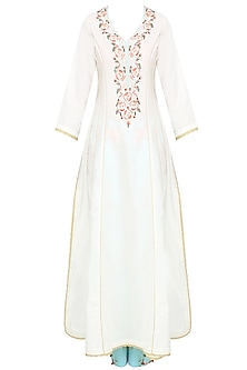 White Rosette Embroidered Kalidaar Kurta With Floral Pants