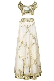 Ivory And Gold Pearl Embroidered Lehenga Set by Seema Khan