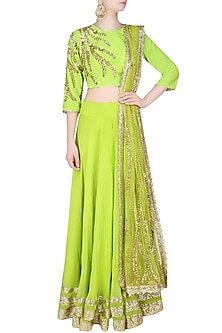 Neon Green Cutdaana Embroidered And Sequin Lehenga Set by Seema Khan