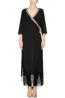 Black Double Layered Fringed Tunic by Seema Khan